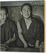 Young Buddhist Monks Wood Print