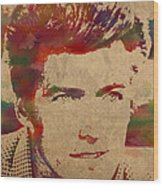 Young Clint Eastwood Actor Watercolor Portrait On Worn Parchment Wood Print