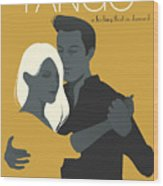 Young Couple Dancing Tango Wood Print