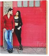 Young Couple Red Doors Wood Print