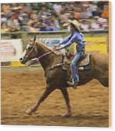 Young Cowgirl Wood Print