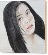 Young Filipina Beauty With A Mole On Her Cheek Model Kaye Anne Toribio Wood Print