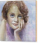 Young Girl Child Watercolor Portrait  Wood Print by Svetlana Novikova