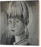 Young Girl Crying Wood Print