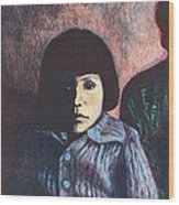 Young Girl In Blue Sweater Wood Print