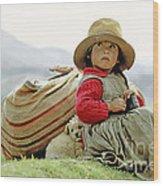 Young Girl In Peru Wood Print