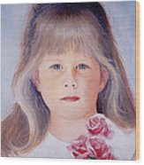 Young Girl With Roses Wood Print