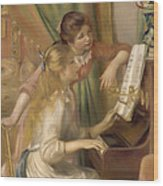 Young Girls At The Piano Wood Print