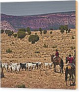 Young Goat Herders Wood Print by Priscilla Burgers