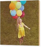 Young Happy Woman Flying On Colorful Helium Balloons Wood Print