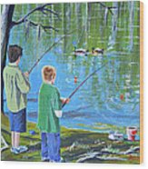 Young Lads Fishing Wood Print