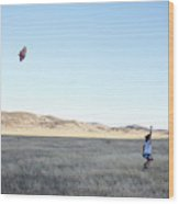 Young Lady Flies A Kite In An Open Wood Print