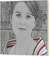 Young Lady With Multicolored Shawl Wood Print