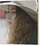 Young Lady With White Hat 2 Wood Print