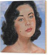 Young Liz Taylor Portrait Remake Version II Wood Print