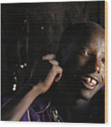 Young Maasai Warrior In The Village Wood Print