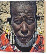 Portrait Of Young Maasai Woman At Ngorongoro Conservation Tanzania Wood Print