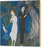 Young Man In Black. Girl In White Wood Print