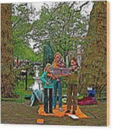 Young Musicians On Orange Day By A Canal In Enkhuizen-netherland Wood Print