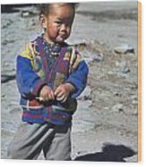 Young Nepalese Girl In Manang Wood Print