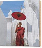 Young Novice Monk Walking On White Pagoda - Myanmar Wood Print