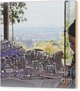 Young Party Girl Waiting For Guests Wood Print