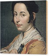 Young Peasant Woman Holding A Wine Flask Wood Print