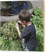 Young Photographer Wood Print