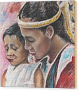 Young Polynesian Mama With Child Wood Print