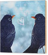 Young Robins In Love Wood Print