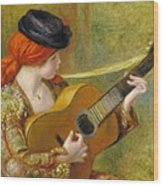 Young Spanish Woman With A Guitar Wood Print