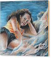 Young Tahitian Mermaid Wood Print