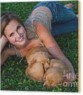 Young Woman And Golden Retriever Puppies Wood Print