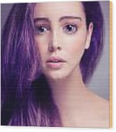 Young Woman Anime Style Beauty Portrait With Large Eyes And Purp Wood Print
