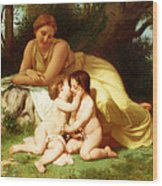 Young Woman Contemplating Two Embracing Children Wood Print