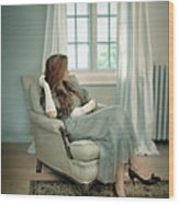 Young Woman In A Chair Wood Print