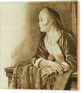 Young Woman On A Balcony Sepia Wood Print