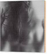Young Woman Trapped Behind Glass Wood Print