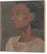 Young Woman With An Afro Wood Print