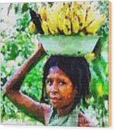 Young Woman With Bananas Wood Print