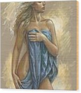 Young Woman With Blue Drape Wood Print