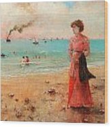 Young Woman With Red Umbrella Wood Print
