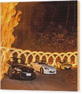 Your Cars On Fire Wood Print