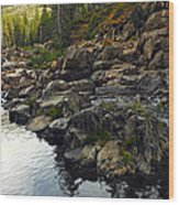 Yuba River Rocks Wood Print