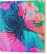 Yucca Abstract Pink Blue Green Wood Print