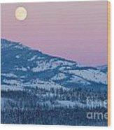 Yukon Canada Winter Landscape And Full Moon Rising Wood Print