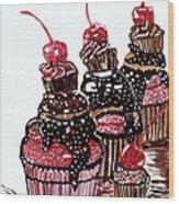 Yum Candy Cupcake Wood Print