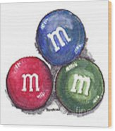 Yummy M And Ms Wood Print