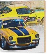Yellow Z28 Camaro Wood Print