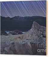 Zabriskie Point Star Trails Wood Print by Jane Rix